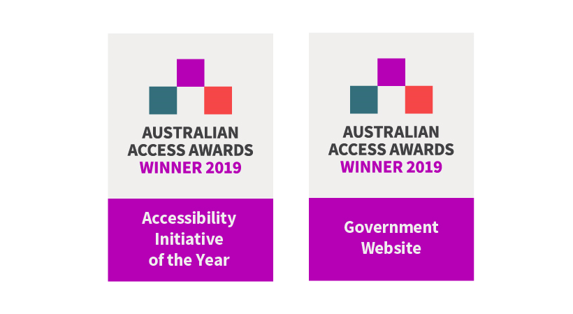Two winner badges 'Accessibility Initiative of the Year' and 'Government Website of the Year' for accessibility.sa.gov.au from the Australian Access Awards 2019