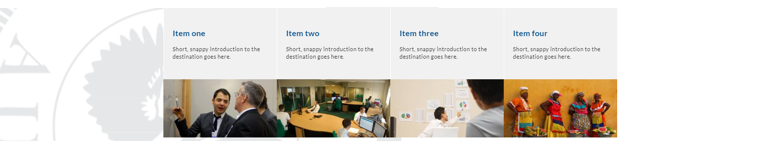Image of feature topic panels - 4 fixed panels with branding