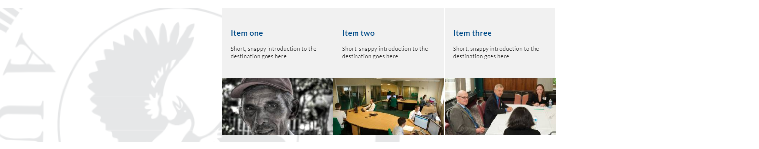 Image of feature topic panels - 3 fixed panels with branding