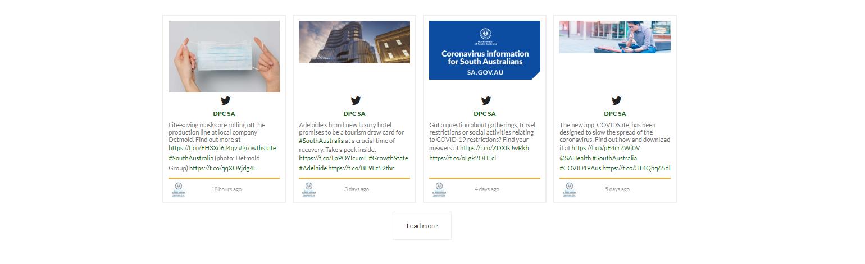 Social media curator displaying 4 panels